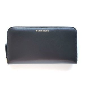 Burberry Leather Zip-Around Wallet - Black